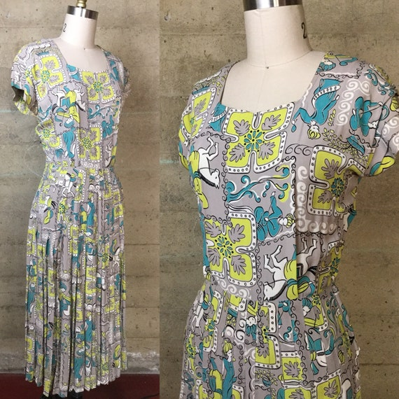 1940s Novelty Print Rayon Dress