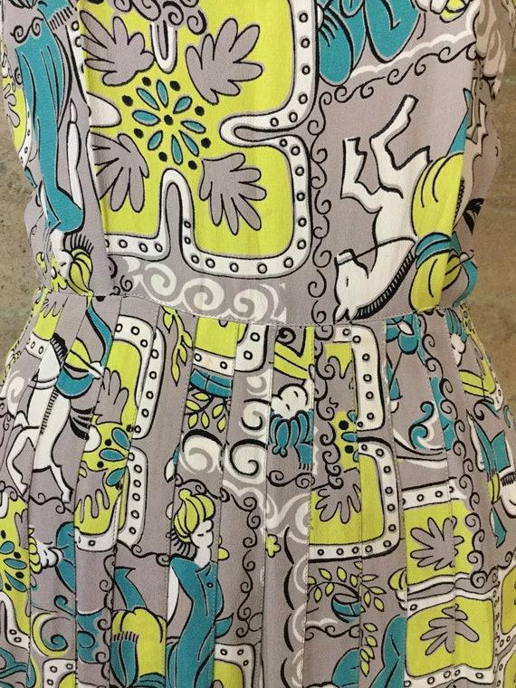 1940s Novelty Print Rayon Dress - image 4