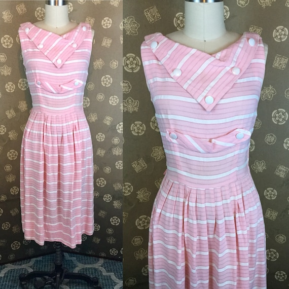 1950s Kerrybrooke Pink and White Striped Dress