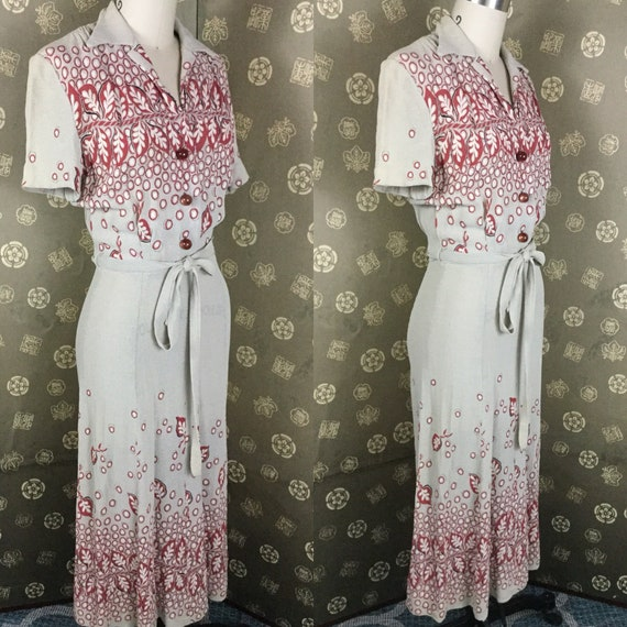 1940s Border Print Dress