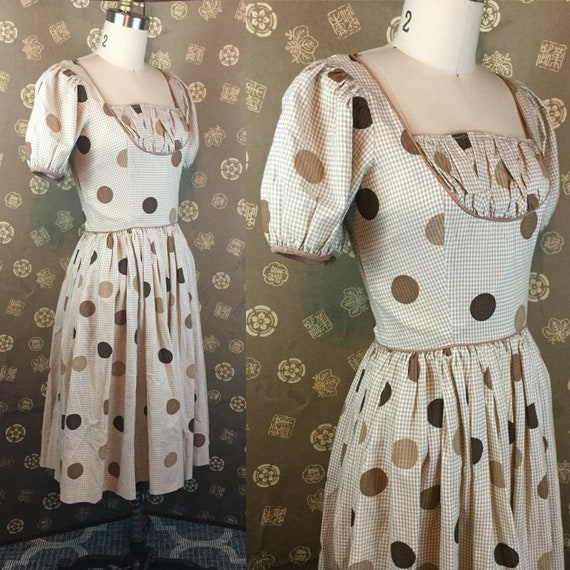 1950s Polka Dot & Gingham Puff Sleeve Dress