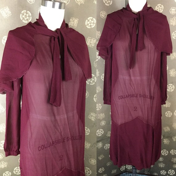 1920s Wine Chiffon Dress with Cape