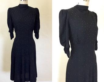 1930s / 1940s Studded Puffed Sleeve Dress