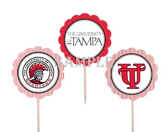 College Cupcake Toppers | University of Tampa Spartans | 12 Food Toppers \ Football Games | Graduation Party