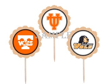 College Cupcake Toppers | University of Tennessee Vols | 12 Food Toppers \ Football Games | Graduation Party