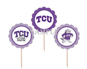 College Cupcake Toppers | Texas Christian University Horned Frogs | 12 Food Toppers \ Football Games | Graduation Party