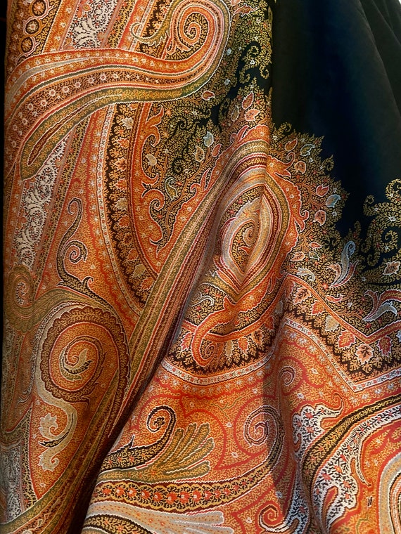 Giant Antique Paisley Victorian Shawl 140 X 64