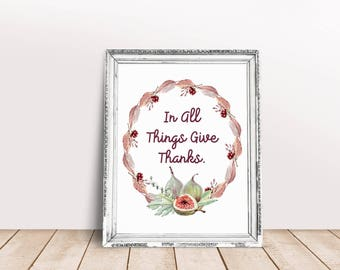 Thanksgiving Wall Art, Thanksgiving Decor, Fall Wall Decor, Fall Decorations, Give Thanks Sign, Thanksgiving Sign, Harvest Decorations