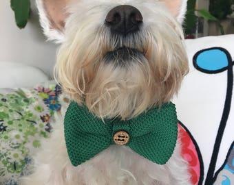 Dog Bow Tie, Dog, Green, Silk, Bow Tie, Dog Scarf, Dog bandana, Puppy Bow Tie