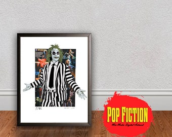 Tim Burton Beetlejuice Original Artwork Canvas & Prints. Comics, Book, Collectible. Digital Mix-Media Art. Pop Culture.