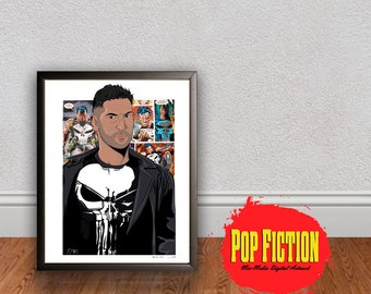 The Punisher Original Artwork Canvas & Prints. Comics, Book, Collectible. Digital Mix-Media Art. Pop Culture.