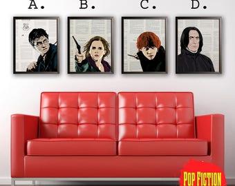 Harry Potter,Hermione Granger,Ron Weasley, Snape,Daniel Radcliff,Emma Watson,Rupert Grint,Alan Rickman,Hogwarts,JK Rowling,Art,Mix-Media,