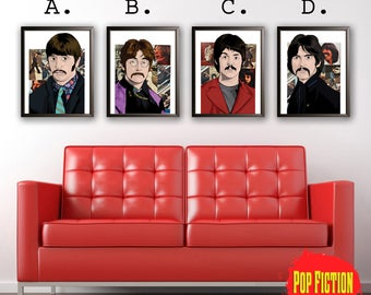 The Beatles Original Artwork Canvas & Prints. Comics, Book, Collectible. Digital Mix-Media Art. Pop Culture.
