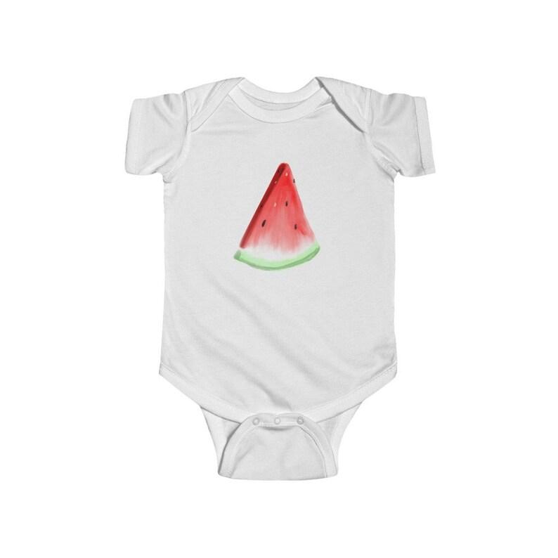 Summer Onesie Hand Painted Design Infant Fine Jersey Bodysuit Watercolor Watermelon Onesie Watermelon Onesie