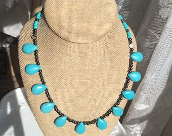 Turquoise Teardrop Necklace, Southwestern Jewelry, Turquoise Necklace, Cowgirl Jewelry, Boho Jewelry, Teardrop Beaded Necklace, Womens Gifts