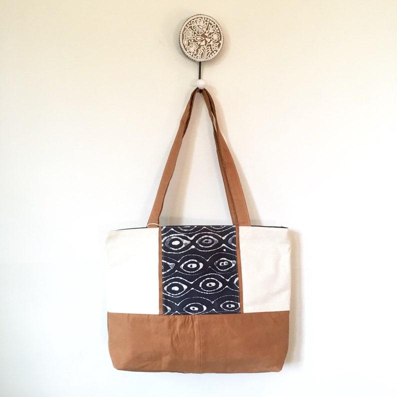 Sri Totebag Batik Bag Work Tote Lightweight Tote Leather Tote Travel Tote Work Bag Canvas Bag Large Purse Repurposed Leather Bag,