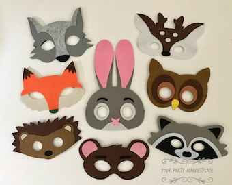 SET OF 8 Woodlands Party Masks Birthday Favors Decorations Kids Animal