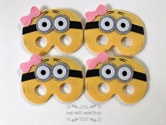 SET OF 4 Girl Minion Masks Minion Party Favors Girl Minions