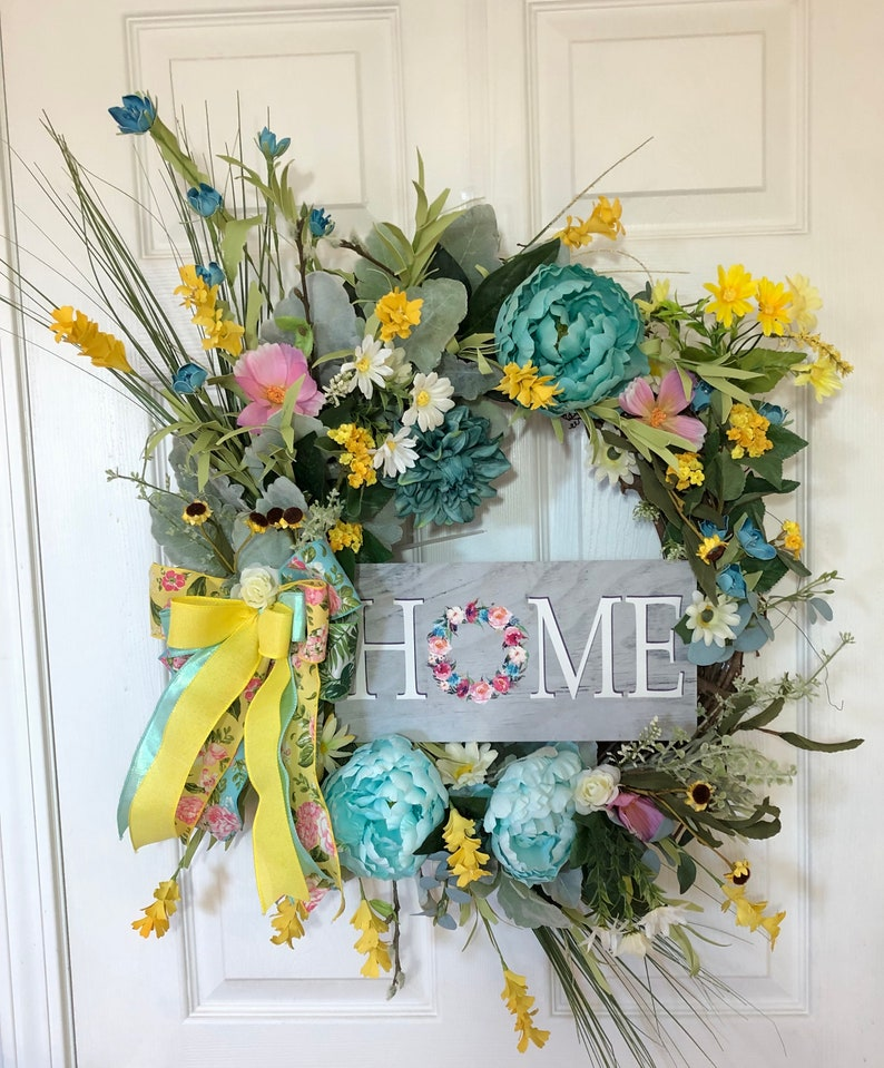 Floral Wreath For Front Door Summer Time Wreath Spring Etsy