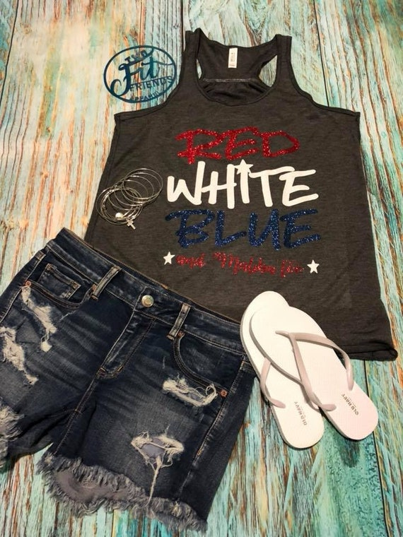 01db0770ce3 Red White Blue and Malibu Too Tank Top XS S M L XL 2X Plus