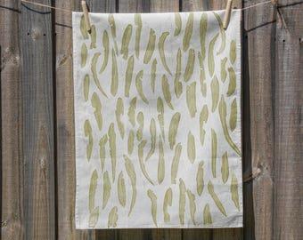 Lemon Scented Gum Handprinted Tea Towel