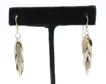 "Beautiful Women's Sterling Silver 925 Long Multi-leaf Leave Leaves Sterling Silver 925 Dangle Earrings - 1 1/4"" - 4.0 Grams"