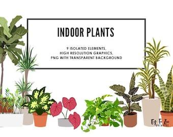 Indoor Plants Clipart, Printable Indoor Plants Stickers, Printable Die-cut Stickers, Decal Stickers, Clipart, Stickers for Journal,