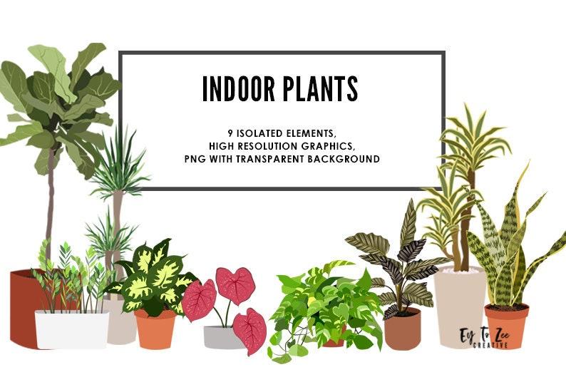 Indoor Plants Clipart Printable Indoor Plants Stickers image 1