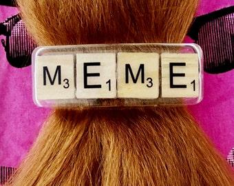 Meme barrette, Scrabble tile hair clip, resin hair jewelry, meme hair accessory, MEME ponytail holder, resin barrette, Scrabble hair clip