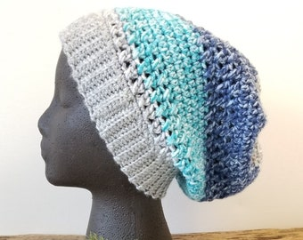Crochet Slouchy Hat, Color Block Aqua Navy Grey Beanie, vegan yarn