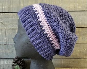 Merino Wool Slouchy Beanie,  Hippie Style Beanie, Hand Crocheted Hat