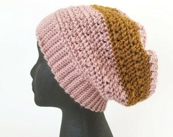 Crochet Slouchy Hat, Color Block Pink and Copper Beanie, vegan yarn