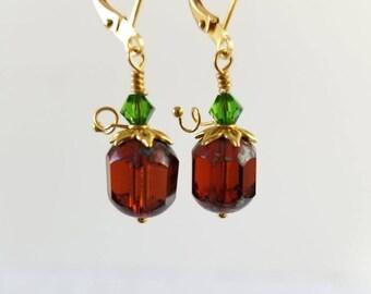 Glass Mini Pumpkin Earrings, Halloween or Thanksgiving with gift box