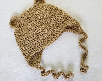 Baby Bear Hat with Ear Flaps fits 6 months to 12 months, Crochet Baby Bonnet, Cute Baby Animal Hat, Beige Baby Bonnet,