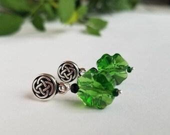 Shamrock Earrings with Celtic knot - Swarovski crystal - St Patricks Day Earrings