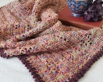 Hand Crochet Afghan, Lap Blanket, Cotton Blend Throw