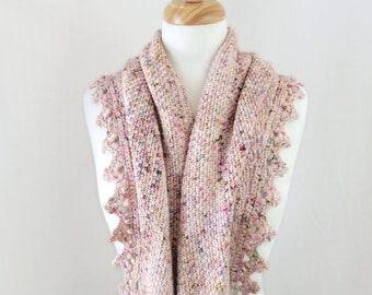 Hand Crocheted Shawl in Hand Dyed Yarn, Triangle Scarf, Small Wrap, Crochet Cowl