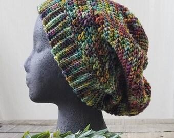 Wool Slouchy Hat, Crocheted Beanie, Earth Tones
