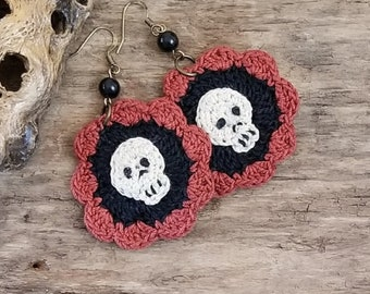 Crocheted Earrings, Day of the Dead Earrings, Sugar Skull Earrings, October Birthday Gift, Fun Halloween Skulls