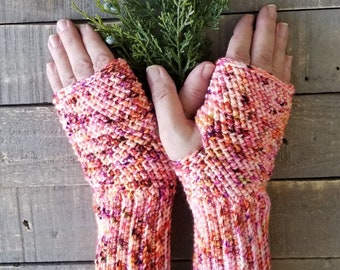 Fingerless Gloves, Hand Dyed Merino, Wrist Warmers, Crochet Hand Warmers
