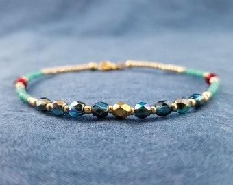 Beaded Bracelet, Boho Stacking Bracelet, blue gold aqua red