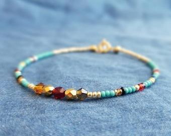 Beaded Bracelet, Boho Stacking Bracelet, red gold aqua