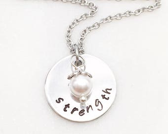Strength necklace, inspirational necklaces, be brave necklaces, encouragement gifts, motivational necklace