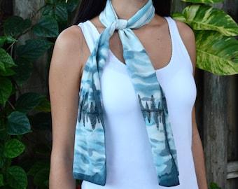 Flor De Lina Blue Winter Tree Lined Lake Landscape Hand Painted Crepe De Chine Silk Scarf