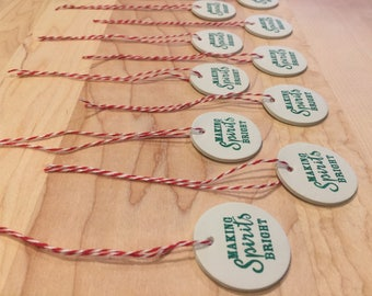 "Set of 10 ""Making Spirits Bright"" holiday gift tags"