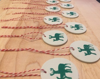 Set of 10 reindeer holiday gift tags