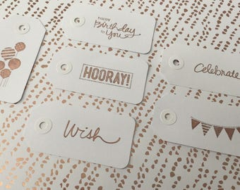 Rose gold birthday gift tags - assorted designs - set of 6