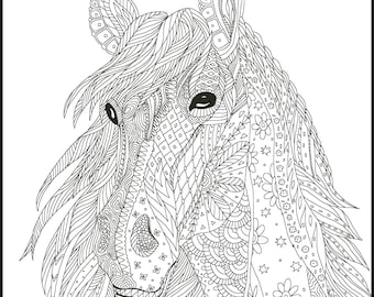 adult coloring pages horses Printable Coloring Page Adult Coloring Pages Horse | Etsy adult coloring pages horses