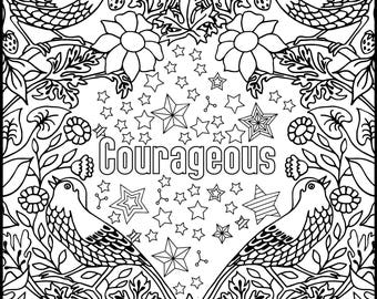 Positive Affirmations Coloring Pages for Adults Adult | Etsy