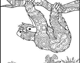 Printable Coloring Page Adult Coloring Page Animal | Etsy